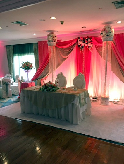 Bride and groom's table for two set up in The PineCrest Room for an Indian Wedding