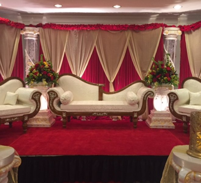 Indian wedding couches and furniture set up in the elegant Foyer at PineCrest near Bucks County.