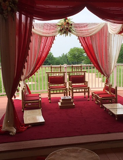 An Indian wedding ceremony setup at PineCrest's Deck overlooking the golf course in Lansdale, PA