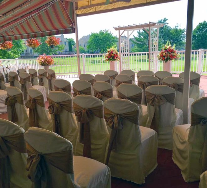 The Veranda, an outdoor wedding event space with golf course views, at PineCrest in Lansdale, PA.