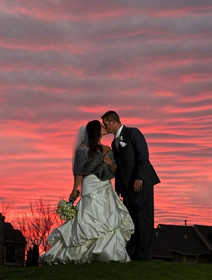 Wedding couple photo during sunset outside of PineCrest in Lansdale, PA
