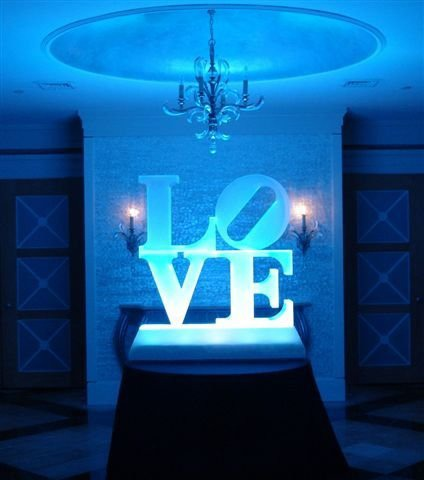 Love ice sculpture under blue light at PineCrest near Bucks County.