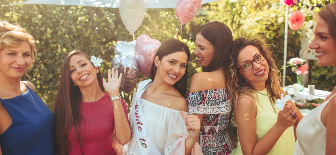 Bride to be and bride tribe at bachelorette party