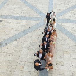 Bridal party aerial photograph captured by a drone