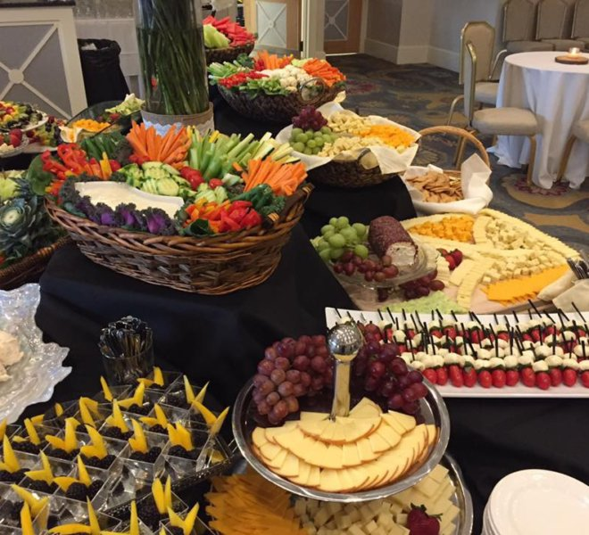 Assorted fruit and cheese display plus vegetable crudités for a PineCrest wedding in Montgomery County