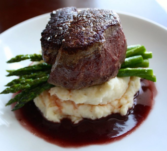 The center-cut filet mignon with red wine reduction on PineCrest's wedding menu.