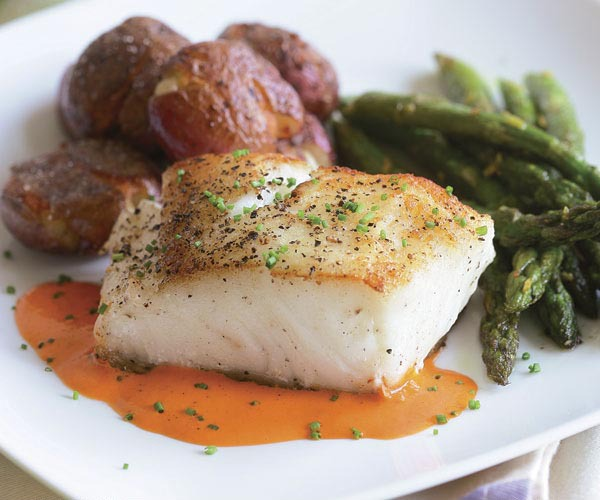 Pan seared halibut with asparagus and potatoes wedding entrée at PineCrest in Lansdale, PA
