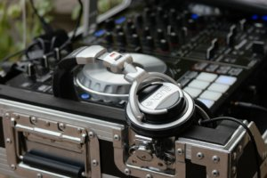 close up of DJ music equipment and headphones