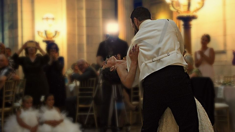 Wedding couple dancing their first dance
