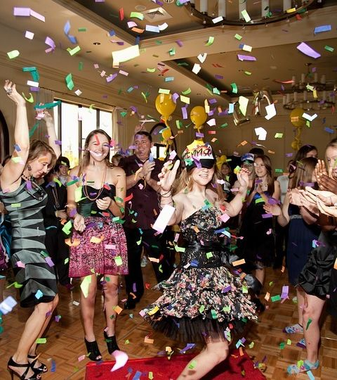 Bat mitzvah party with confetti and dancing