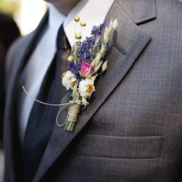 Boutonniere on a groomsman