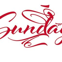Red Scripted Font that says Sunday