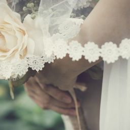 Romantic bridal veil and flower