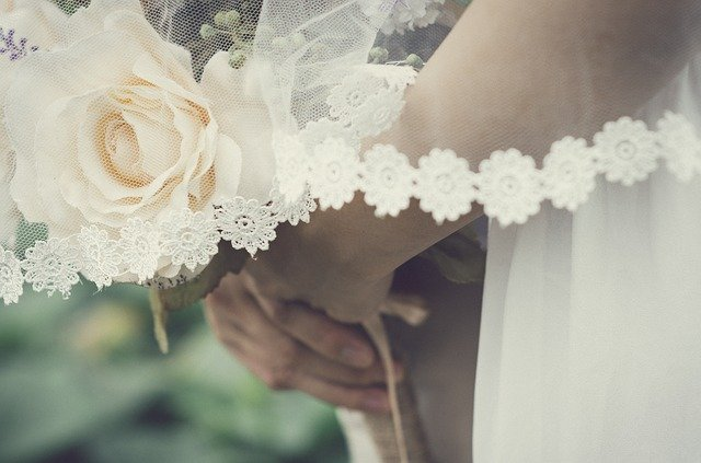 Romantic bridal veil and flower