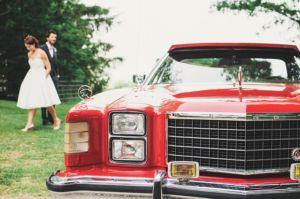 luxury, classic red car for wedding transportation
