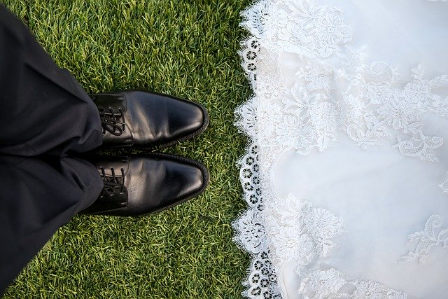 wedding couple's shoes