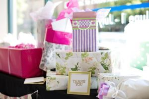 Gift table at an outdoor bridal shower