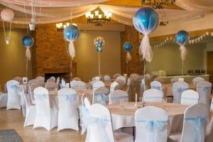 Events room decorated with tulle for a bridal shower